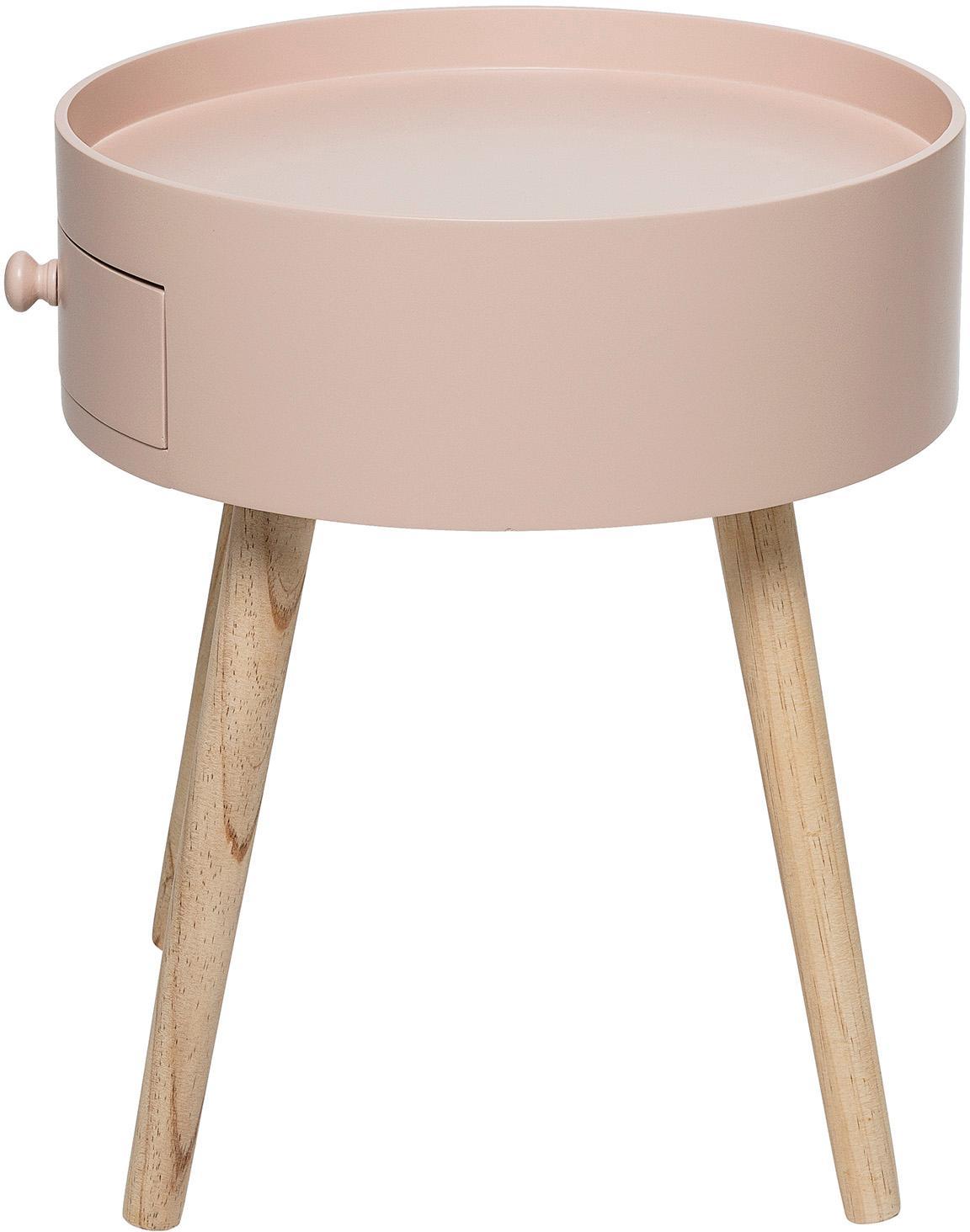 Beistelltisch First mit kleiner Schublade, Korpus: Mitteldichte Holzfaserpla, Beine: Eichenholz, naturbelassen, Altrosa, Ø 38 x H 45 cm