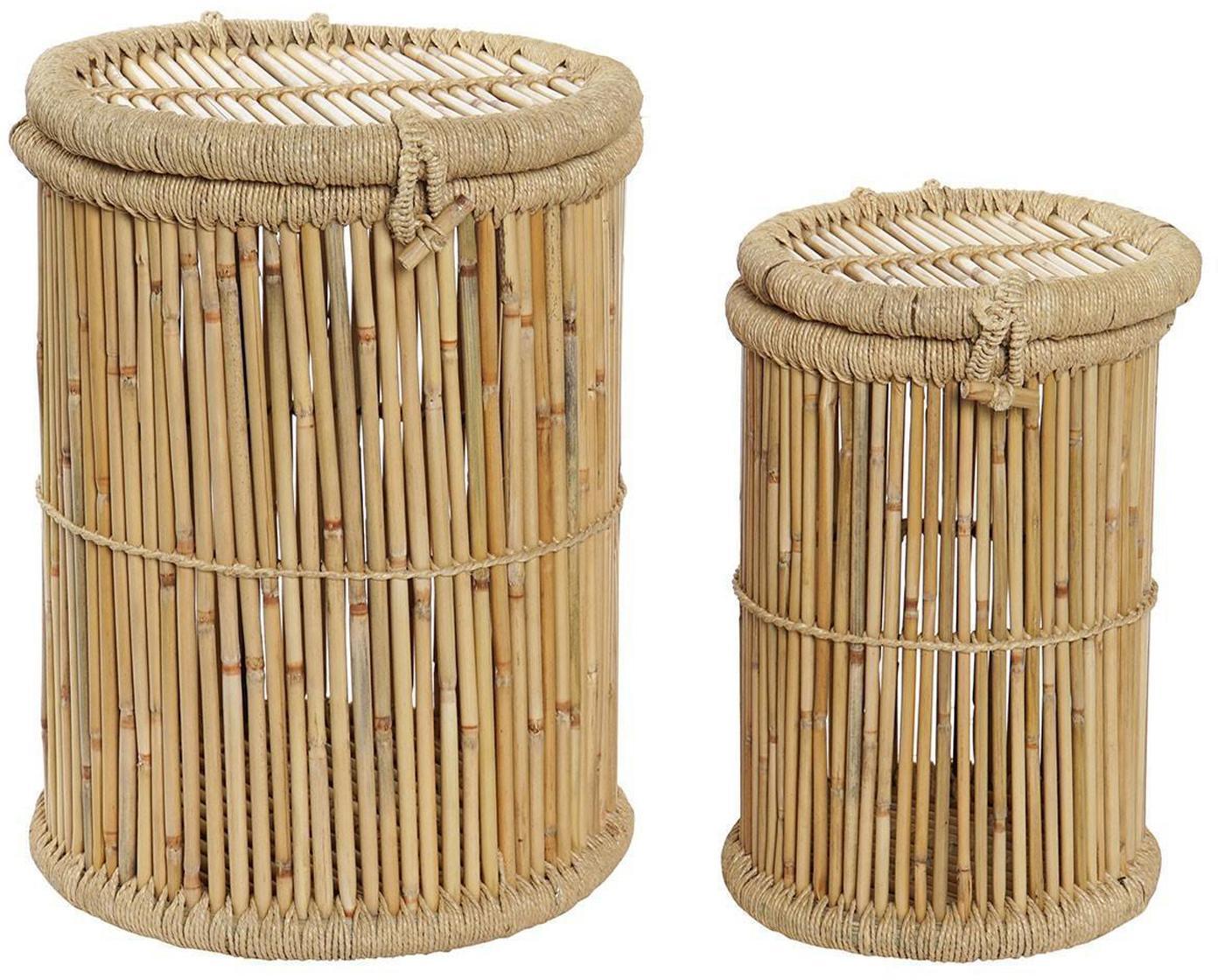 Set de cestas Jambu, 2pzas., Cesta: Bambú, Beige, Set de diferentes tamaños
