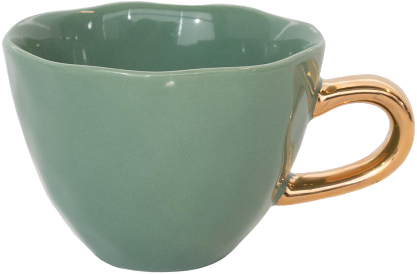Tazza con manico dorato Good Morning, Terracotta, Verde scuro, dorato, Ø 11 x Alt. 8 cm