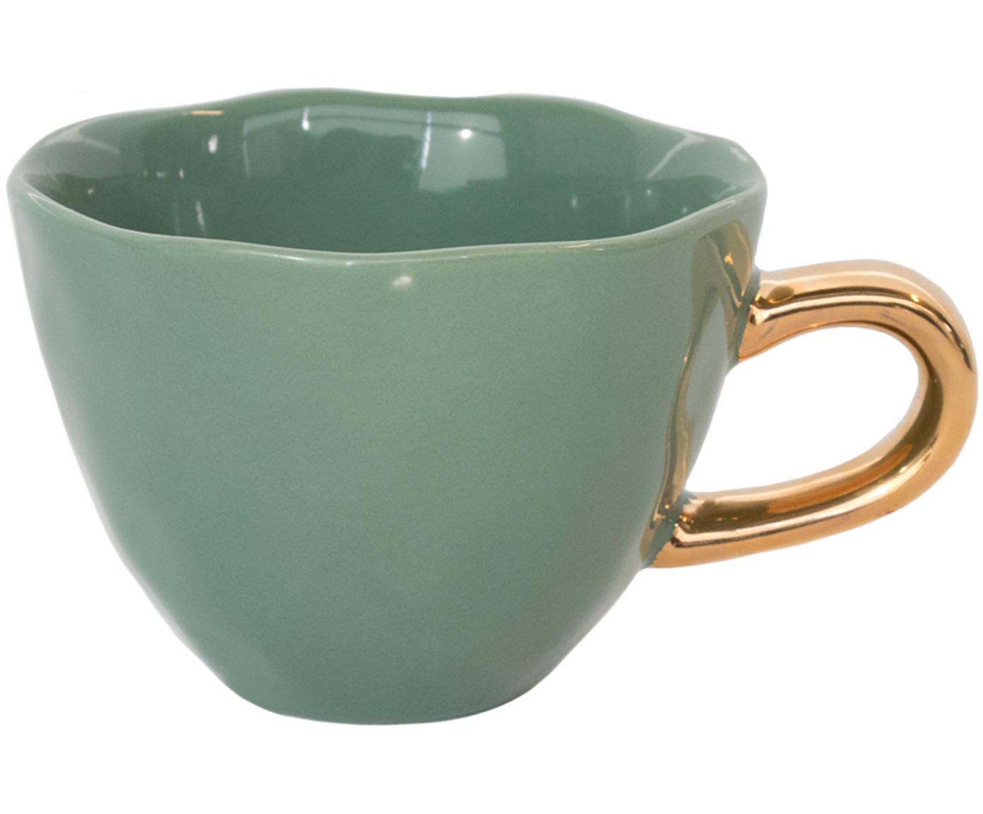Tazza con manico dorato Good Morning, Terracotta, Verde scuro, dorato, Ø 11 x Alt. 8 cm