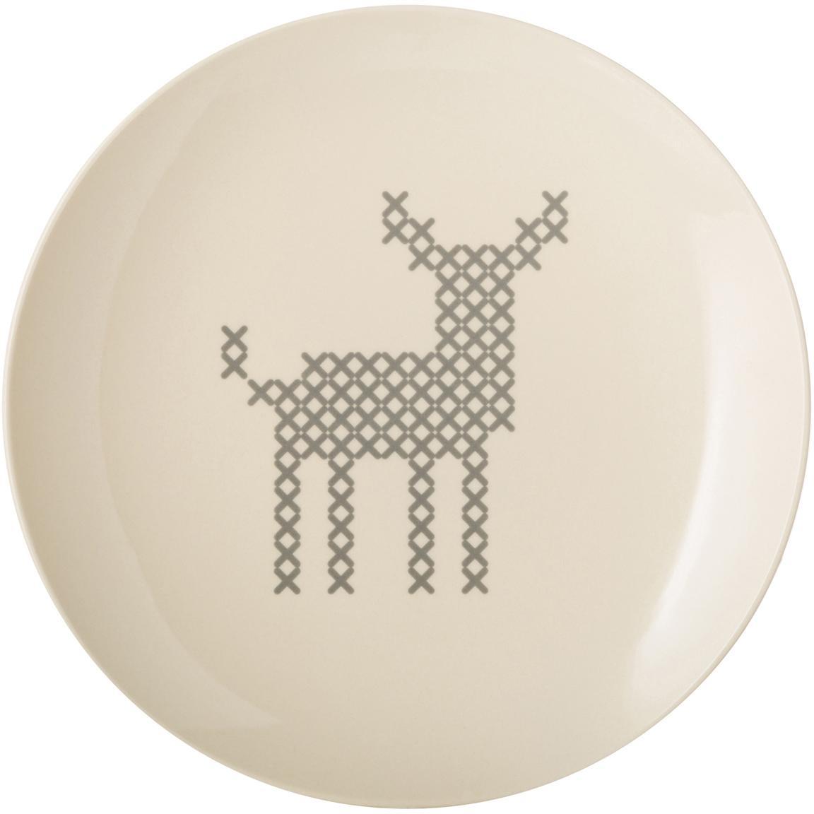 Piattino da dessert con motivo cervo Cross, Ceramica, Bianco spezzato, grigio, Ø 20 cm