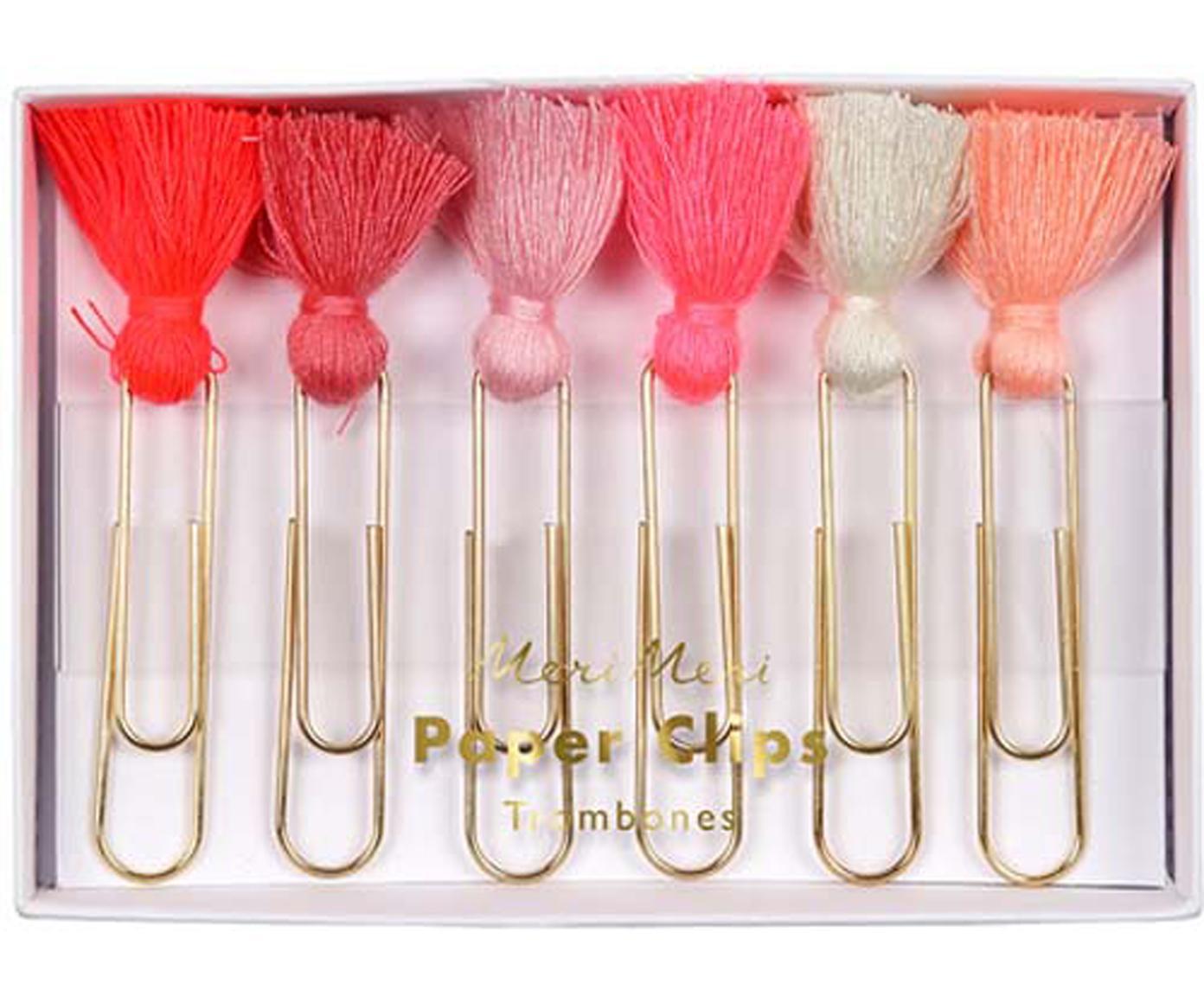 Büroklammer-Set Clippy, 6-tlg., Metall, lackiert, Polyester, Rosatöne, Rottöne, Creme, Goldfarben, 2 x 6 cm
