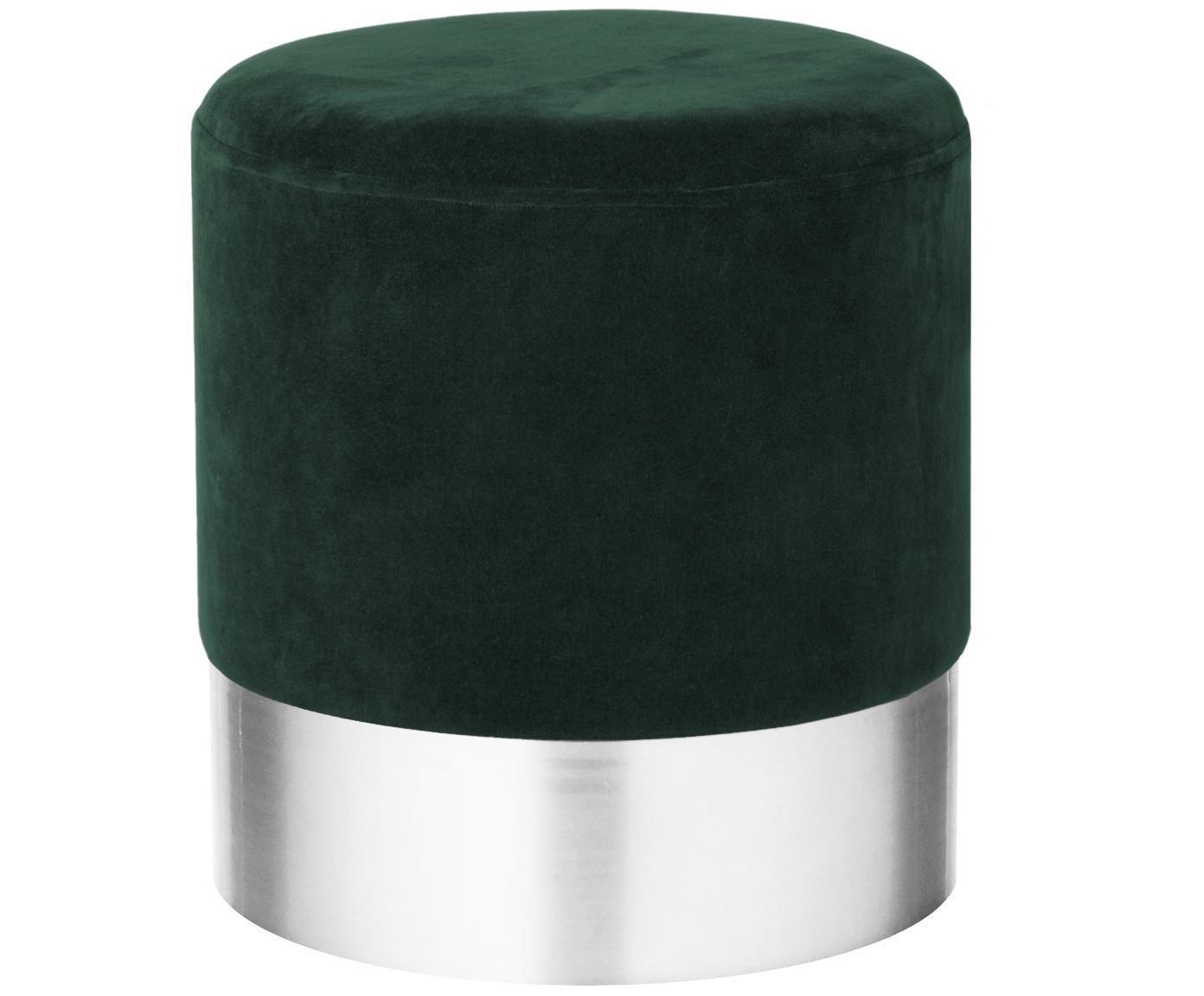 Samt-Hocker Harlow, Bezug: Baumwollsamt, Fuß: Eisen, pulverbeschichtet, Dunkelgrün, Silber, Ø 38 x H 42 cm