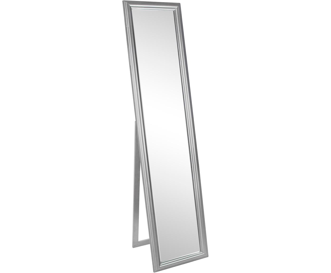 Specchio da terra con cornice in legno argentato Sanzio, Cornice: legno, rivestito, Superficie dello specchio: lastra di vetro, Argentato, Larg. 40 x Alt. 170 cm