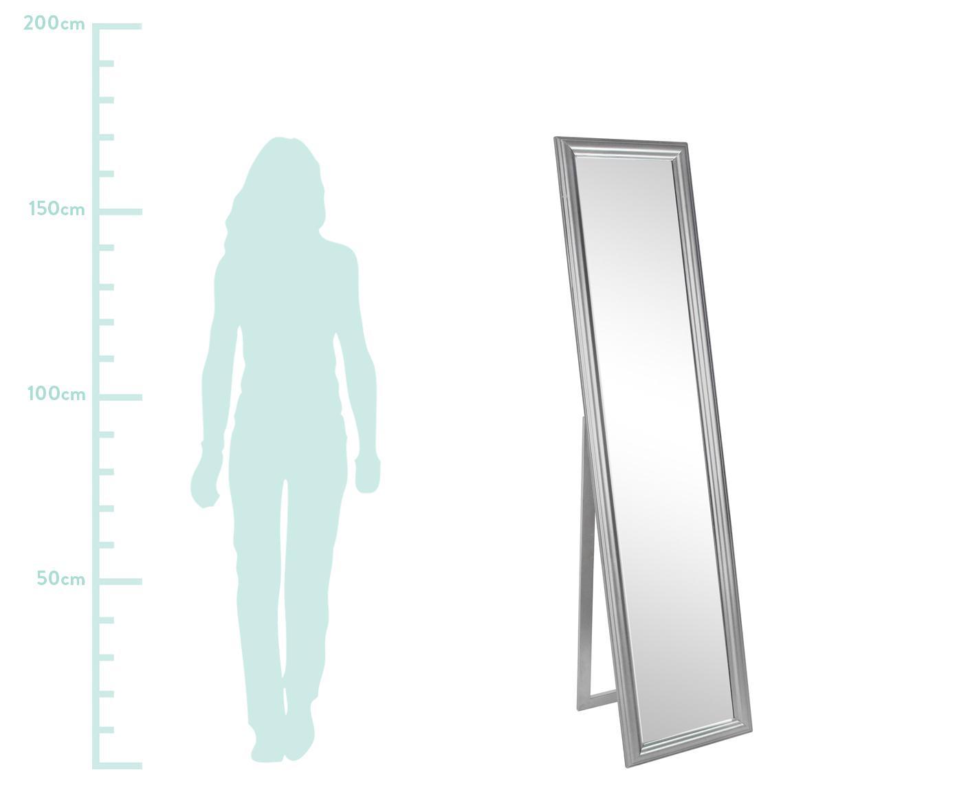 Standspiegel Sanzio mit silbernem Rahmen, Rahmen: Holz, beschichtet, Spiegelfläche: Spiegelglas, Silberfarben, 40 x 170 cm