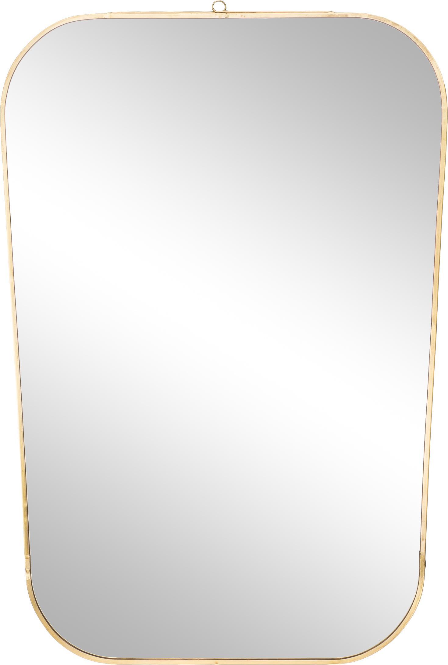 Wandspiegel Rounded, Frame: gelakt ijzer met antieke , Goudkleurig, 35 x 51 cm