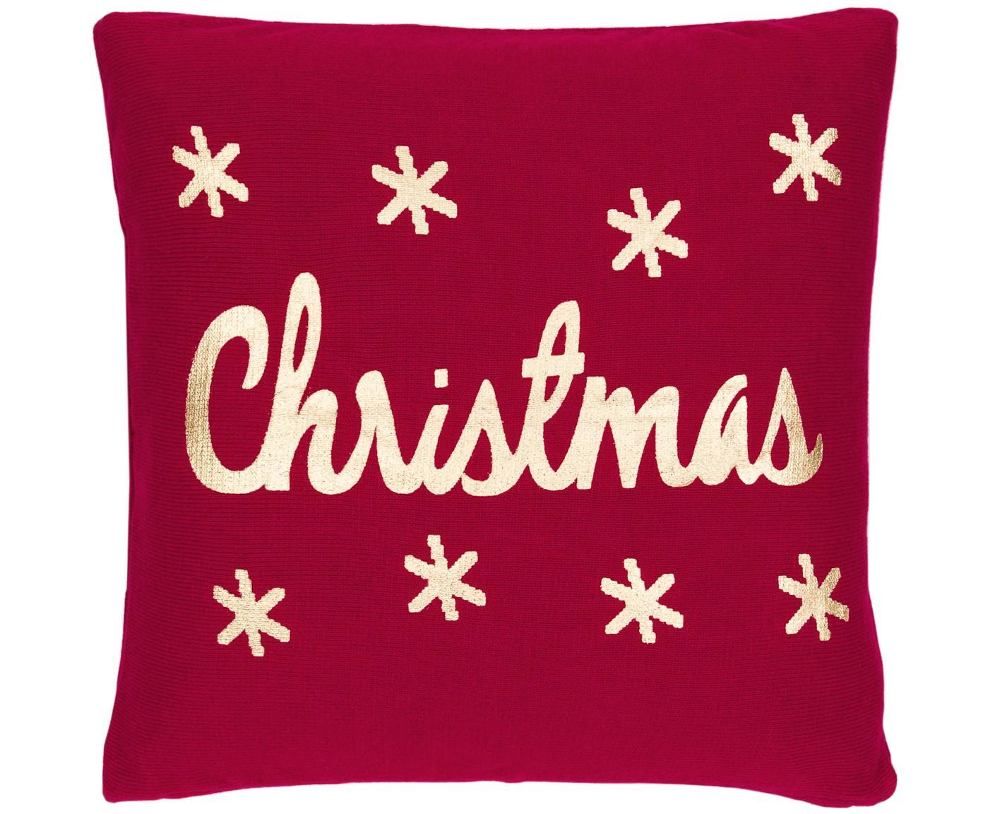 Gebreide kussenhoes Christmas, 100% katoen, Rood, goudkleurig, 40 x 40 cm
