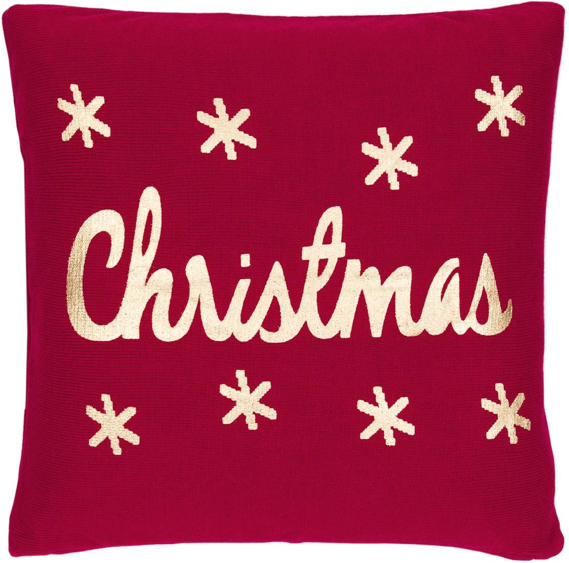 Funda de cojín de punto Christmas, 100%algodón, Rojo, dorado, An 40 x L 40 cm