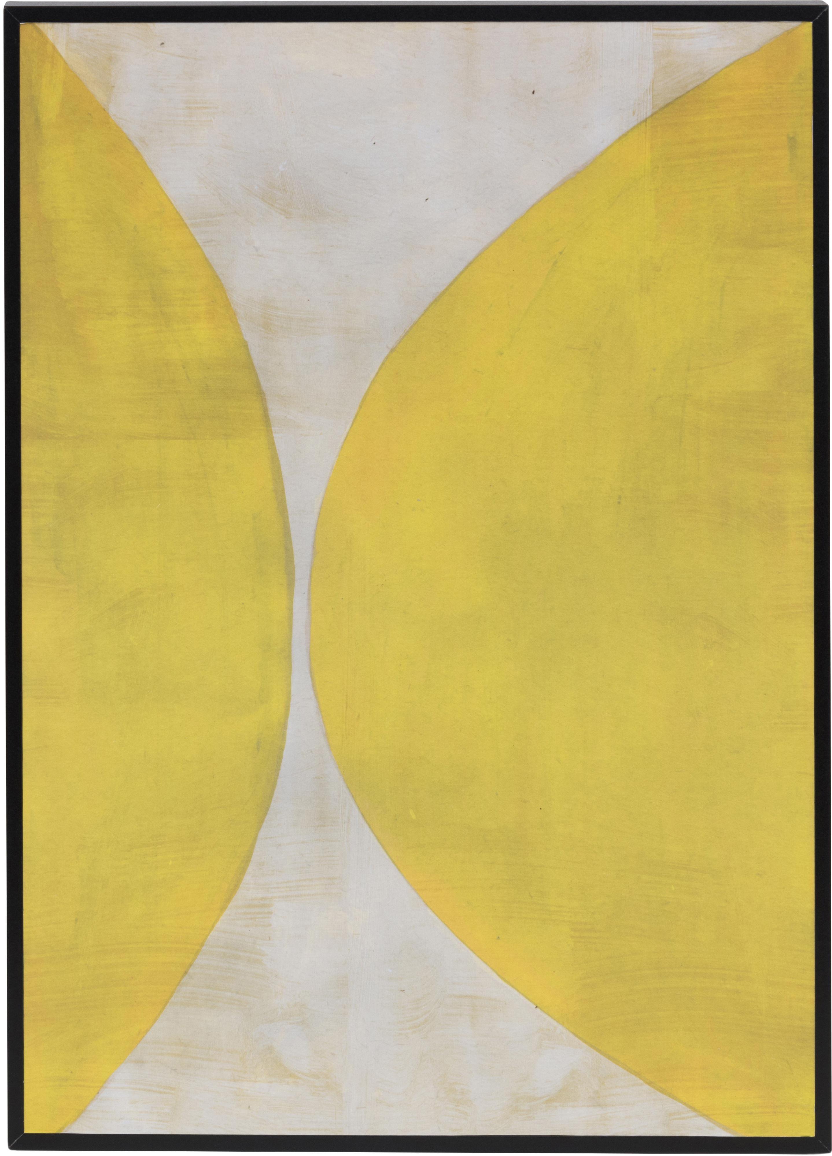 Gerahmter Digitaldruck Reri, Bild: Recyceltes Papier, Rahmen: Mitteldichte Holzfaserpla, Gelb, Creme, 25 x 35 cm