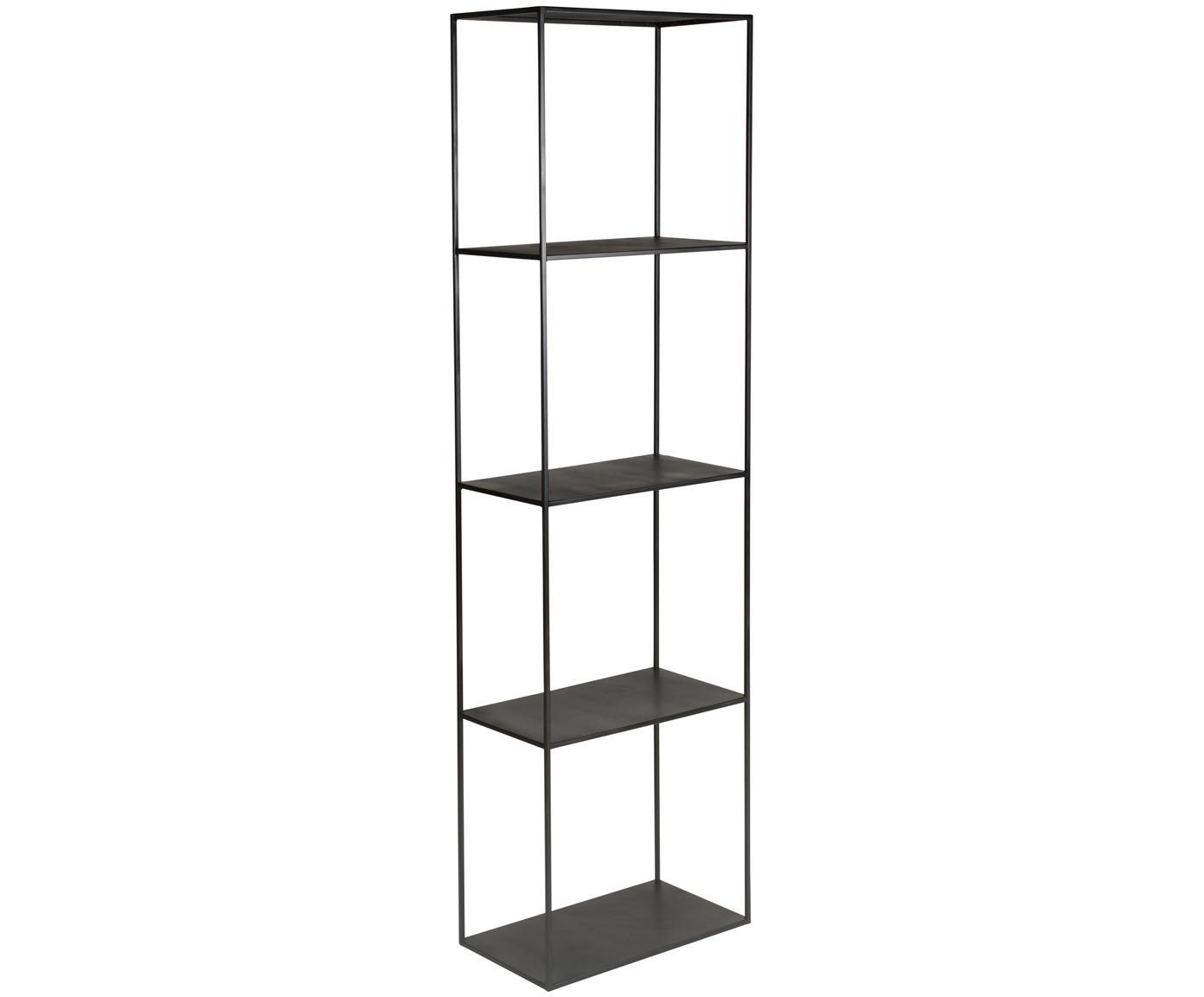 Schwarzes Metall-Regal Expo, Metall, pulverbeschichtet, Schwarz, 50 x 180 cm