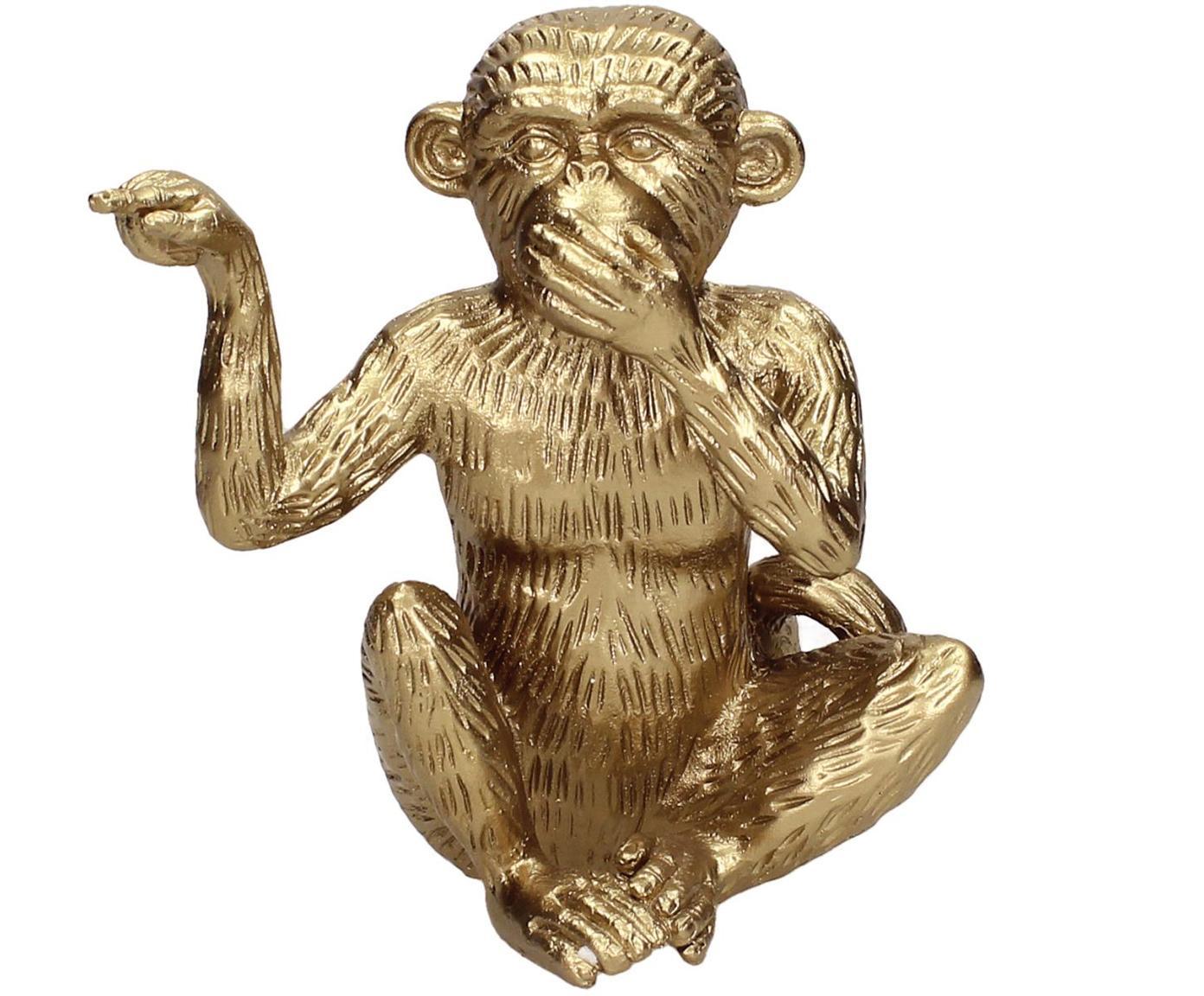 Oggetto decorativo Monkey, Poliresina, Dorato, Larg. 14 x Alt. 15 cm