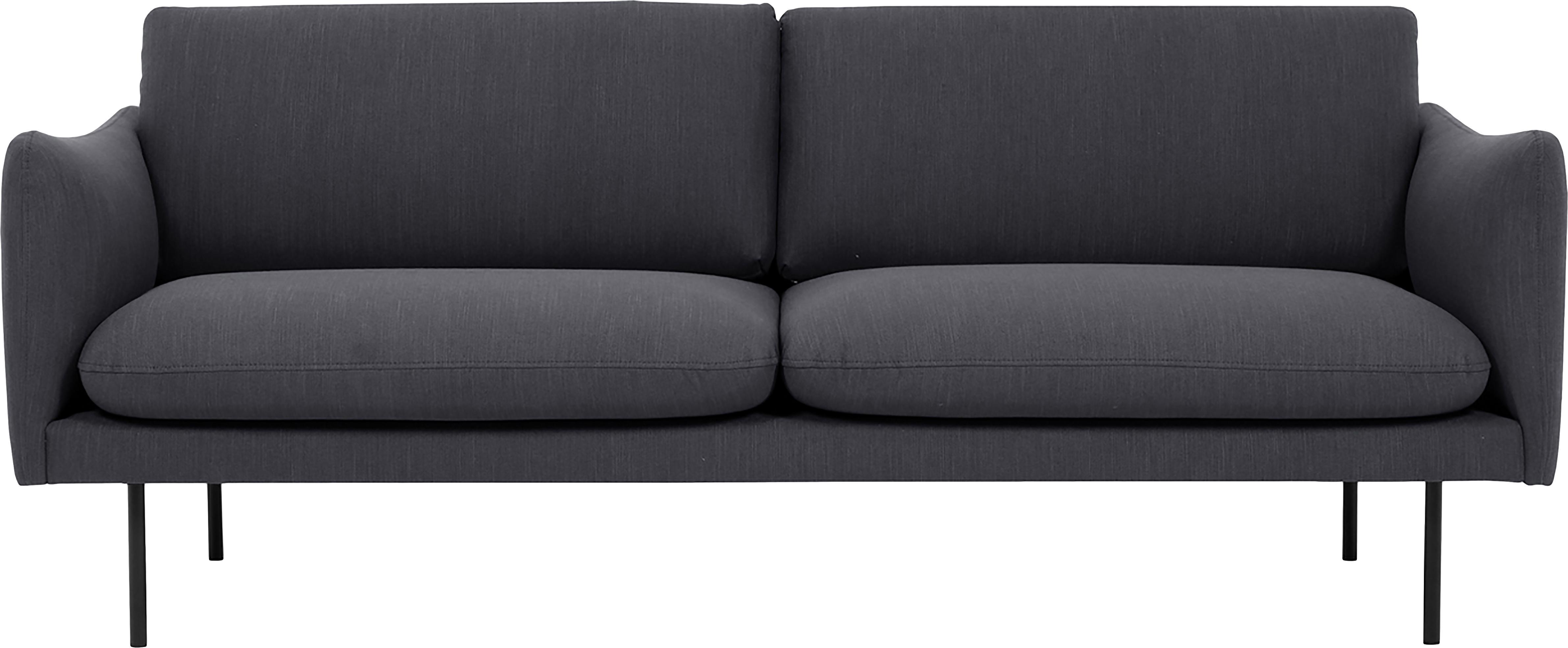 Bank Moby (2-zits), Bekleding: polyester, Frame: massief grenenhout, Poten: gepoedercoat metaal, Donkergrijs, B 170 x D 95 cm