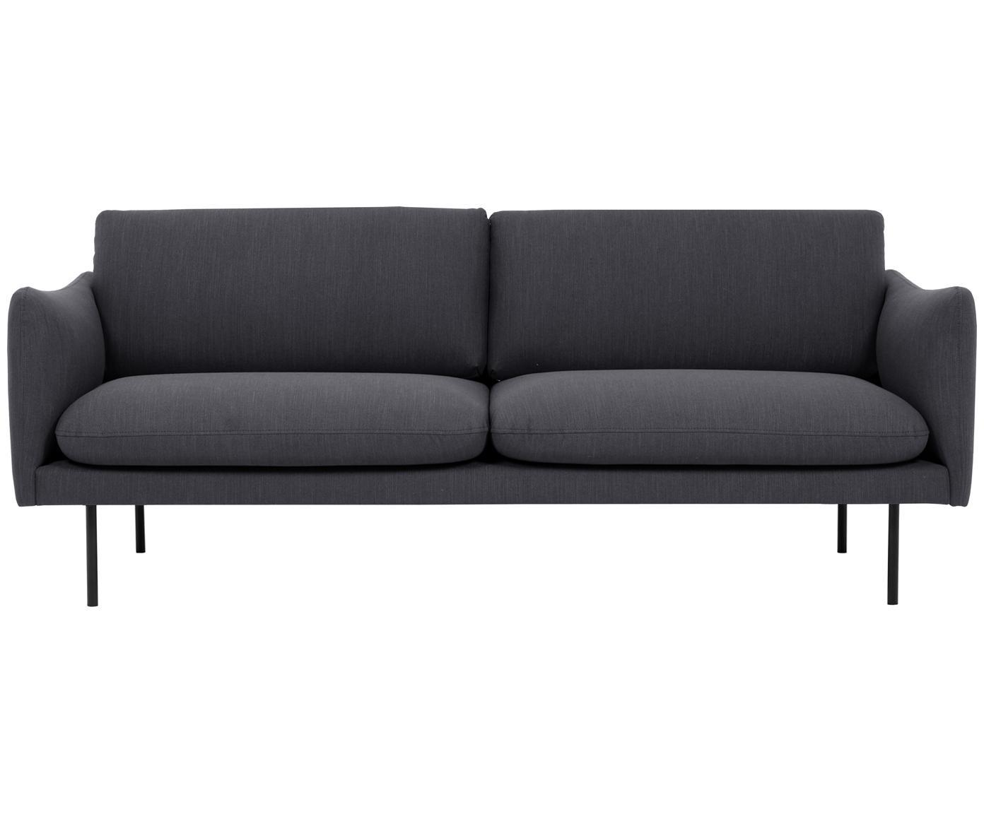 Sofa Moby (2-Sitzer), Bezug: Polyester 60.000 Scheuert, Gestell: Massives Kiefernholz, Füße: Metall, pulverbeschichtet, Webstoff Dunkelgrau, B 170 x T 95 cm