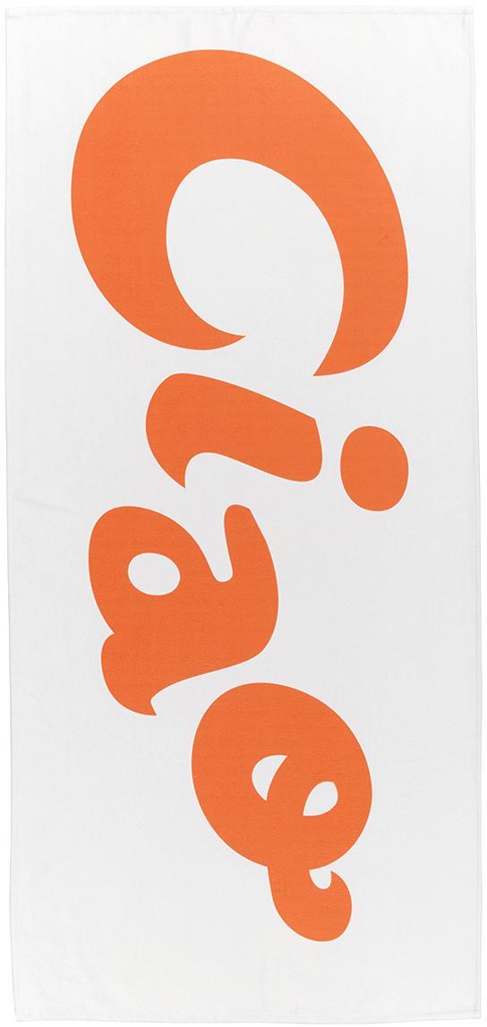 Leichtes Strandtuch Ciao mit Schriftzug, 55% Polyester, 45% Baumwolle Sehr leichte Qualität, 340 g/m², Weiss, Orange, 70 x 150 cm