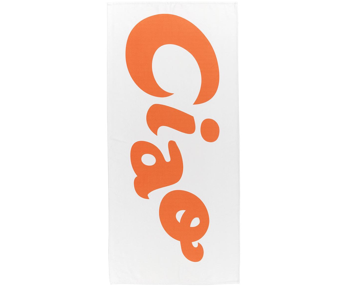 Ręcznik plażowy Ciao, 55% poliester, 45% bawełna Bardzo niska gramatura, 340 g/m², Biały, pomarańczowy, S 70 x D 150 cm