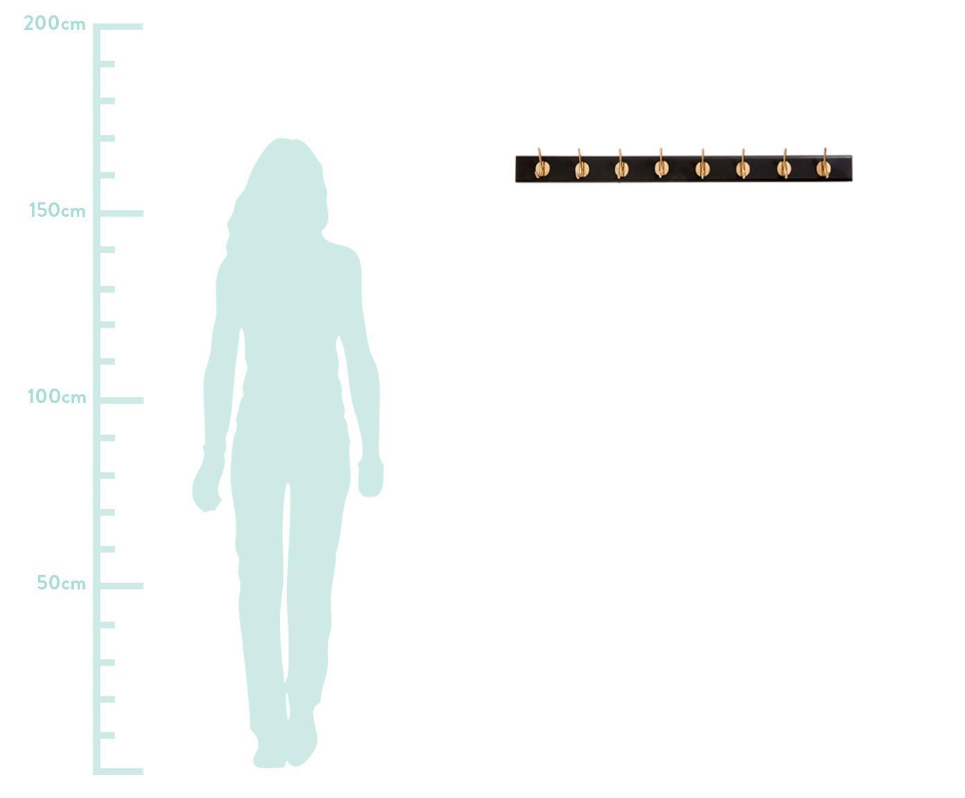 XL Garderobenhaken Aoife mit Metall-Haken, Leiste: Mitteldichte Holzfaserpla, Haken: Messing, Schwarz, 90 x 7 cm