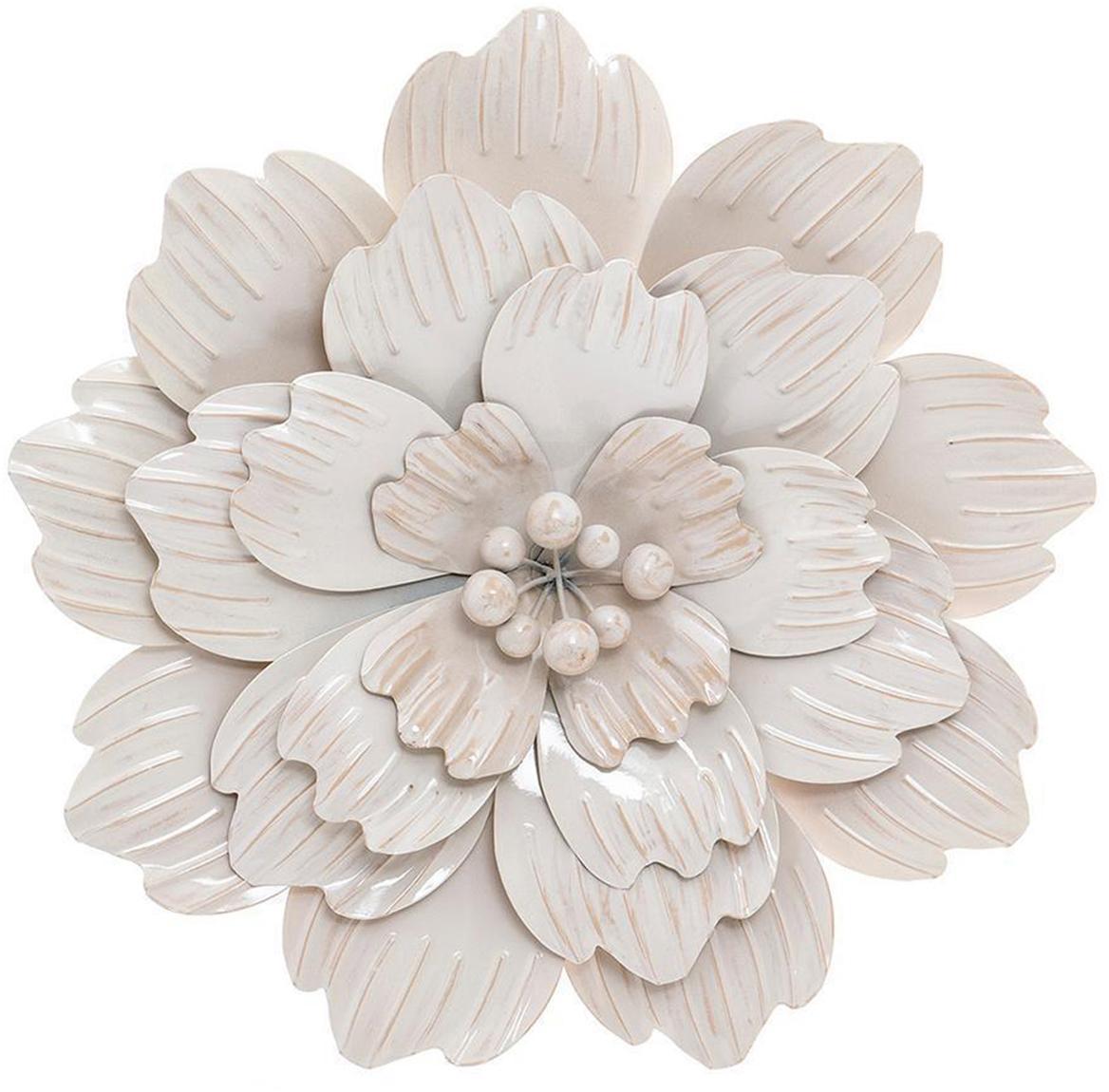 Decoración de pared Blossom, Metal, Blanco, Ø 48 cm