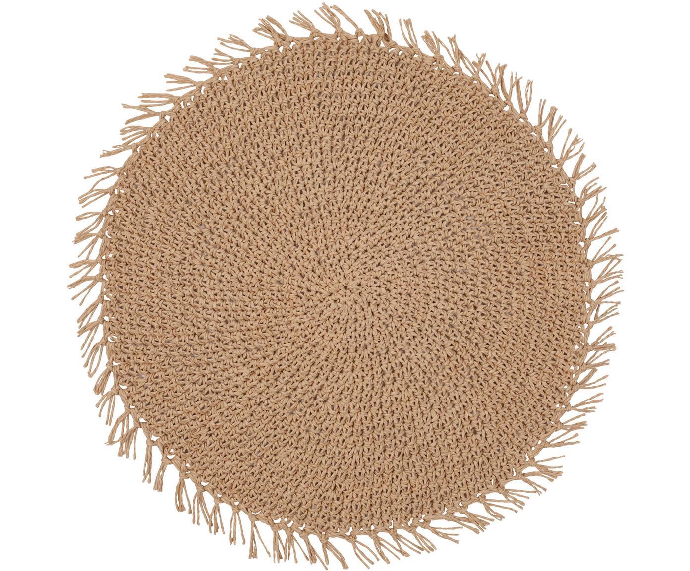 Manteles individuales redondos Tressine, 6uds., Fibras de papel trenzados, Beige, Ø 38 cm