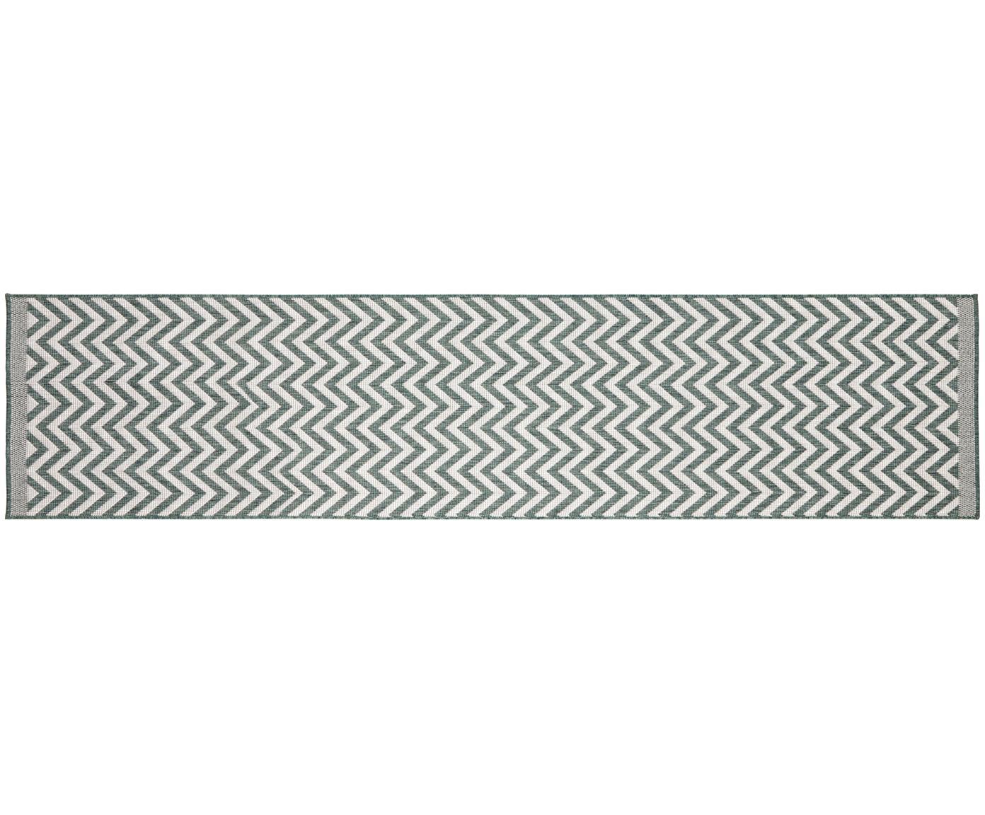 Dubbelzijdige in- & outdoor loper Palma, met zigzag patroon, Groen, crèmekleurig, 80 x 350 cm