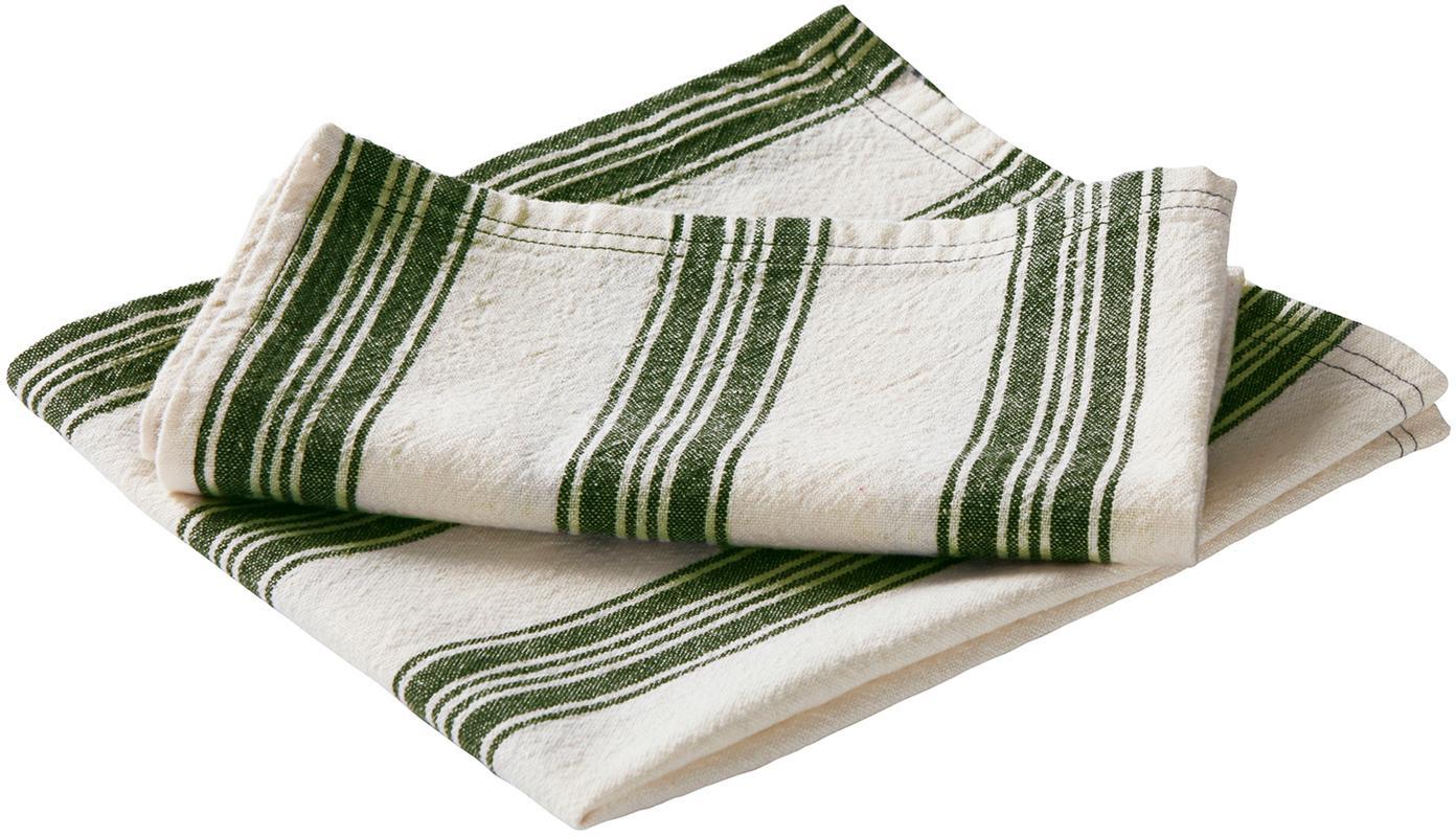 Serwetka z tkaniny Abigail, 2 szt., 80% bawełna 20% len, Złamana biel , zielony, S 45 x D 45 cm