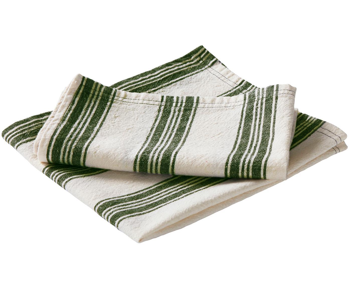 Servetten Abigail, 2 stuks, 80% katoen, 20% linnen, Gebroken wit, groen, 45 x 45 cm