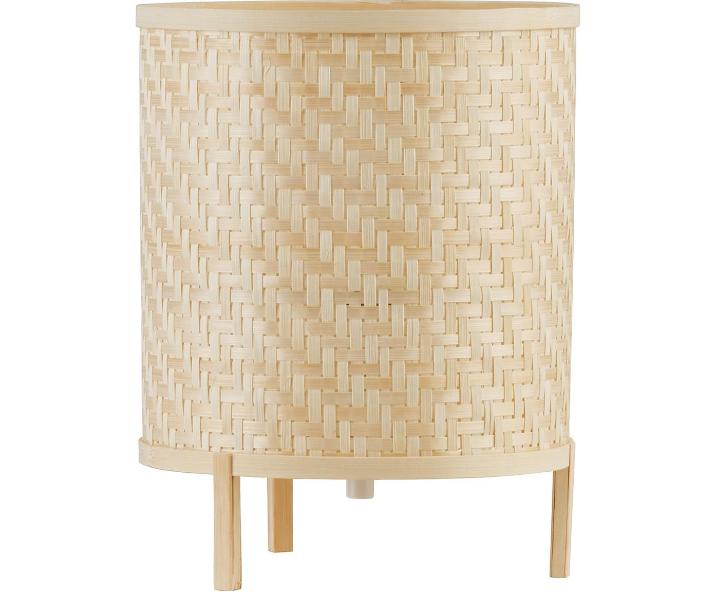 Tafellamp Trinidad van bamboe vlechtwerk, Lampenkap: bamboehouten vlechtwerk, Lampvoet: bamboehout, Bruin, Ø 19 cm