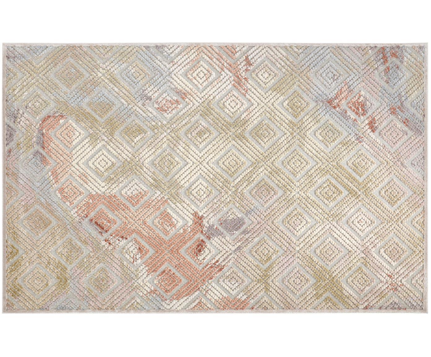 Viskose-Teppich Isère mit Hoch-Tief-Effekt, Flor: 90%Viskose, 10%Polyeste, Silbergrau, Mehrfarbig, B 80 x L 125 cm (Grösse XS)