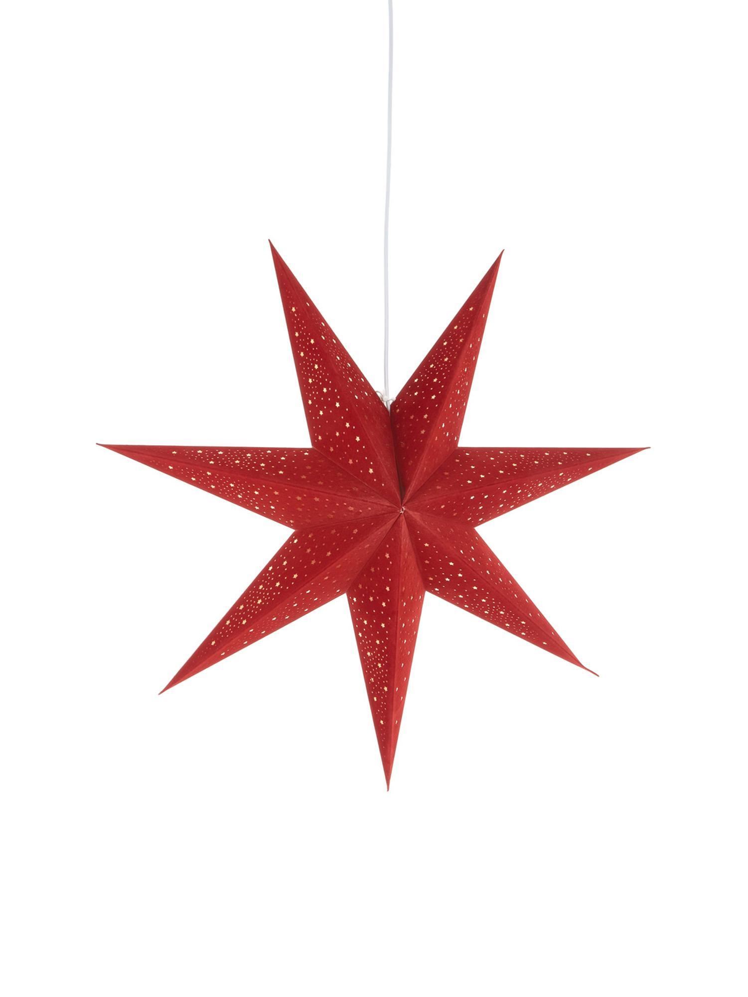 Samt-Weihnachtsstern Orby, Papier, Samt, Rot, Goldfarben, Ø 75 cm