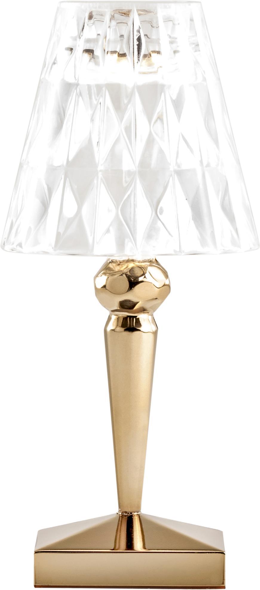 Design LED tafellamp Battery, Goudkleurig, transparant, Ø 12 x H 26 cm
