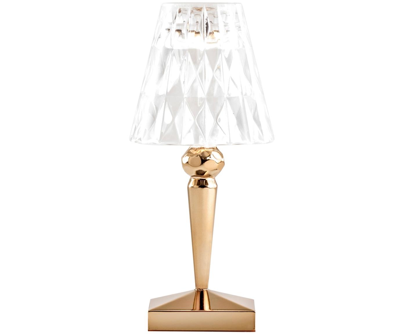 Lampada da tavolo a LED Battery, Dorato trasparente, Ø 12 x Alt. 26 cm
