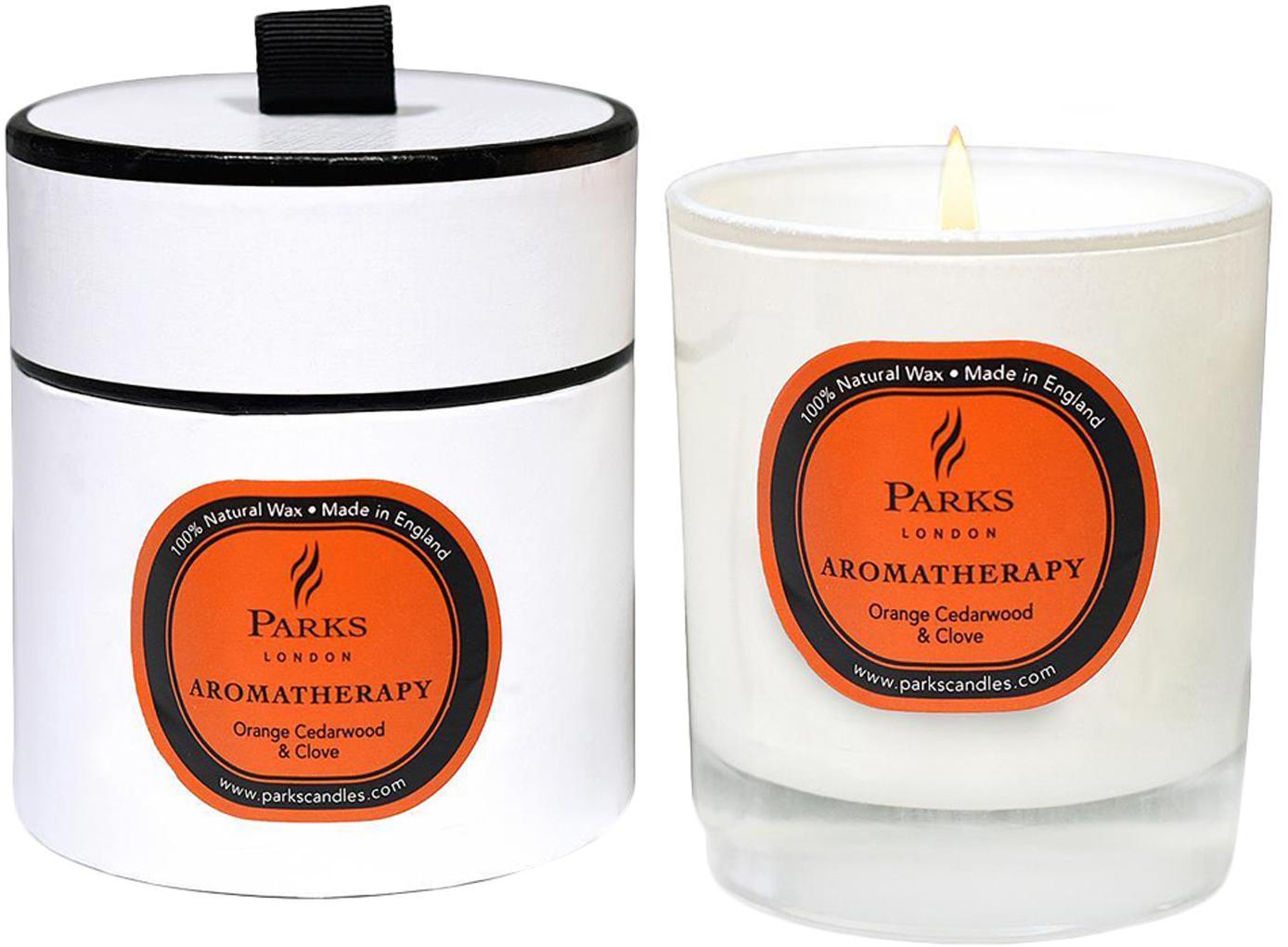 Vela perfumada Aromatherapy (naranja, cedro, clavo), Recipiente: cristal, Transparente, blanco, naranja, Ø 8 x Al 9 cm