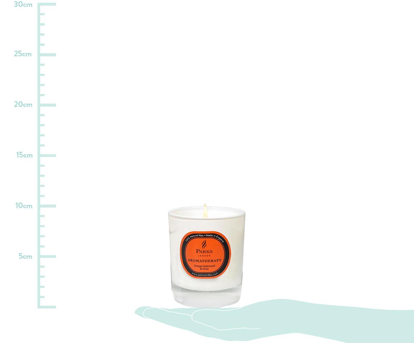 Duftkerze Aromatherapy (Orange, Zedernholz & Nelke), Behälter: Glas, Transparent, Weiß, Orange, Ø 8 x H 9 cm