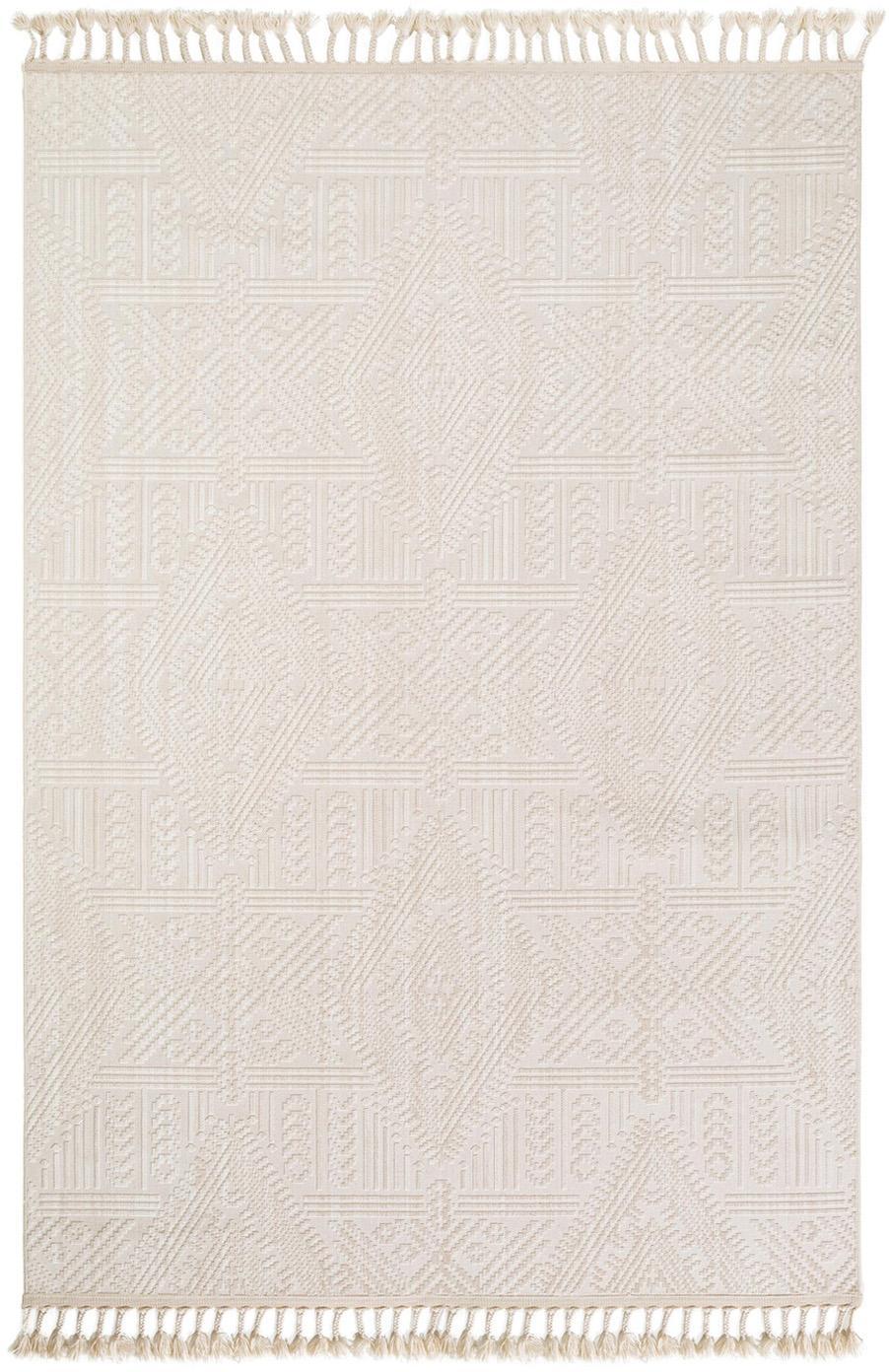 Teppich Laila Tang mit Hoch-Tief-Effekt in Creme, Flor: Polyester, Cremefarben, B 190 x L 290 cm (Größe L)
