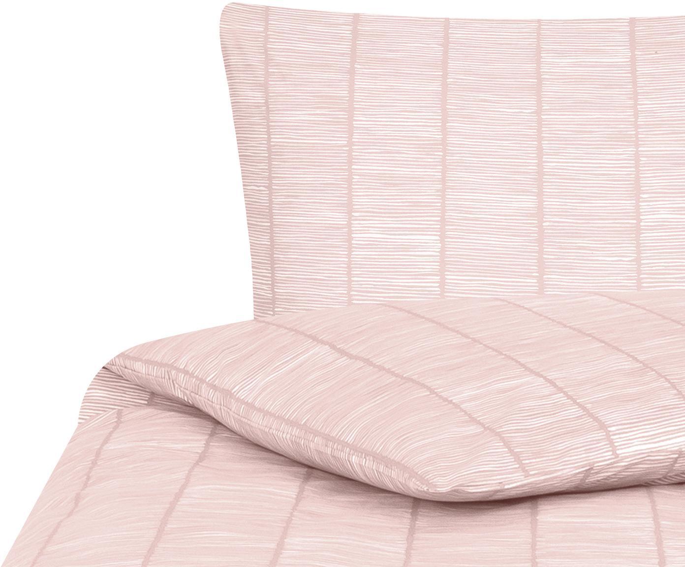 Gemusterte Baumwoll-Bettwäsche Paulina, Webart: Renforcé Fadendichte 144 , Rosa, Weiß, 135 x 200 cm + 1 Kissen 80 x 80 cm