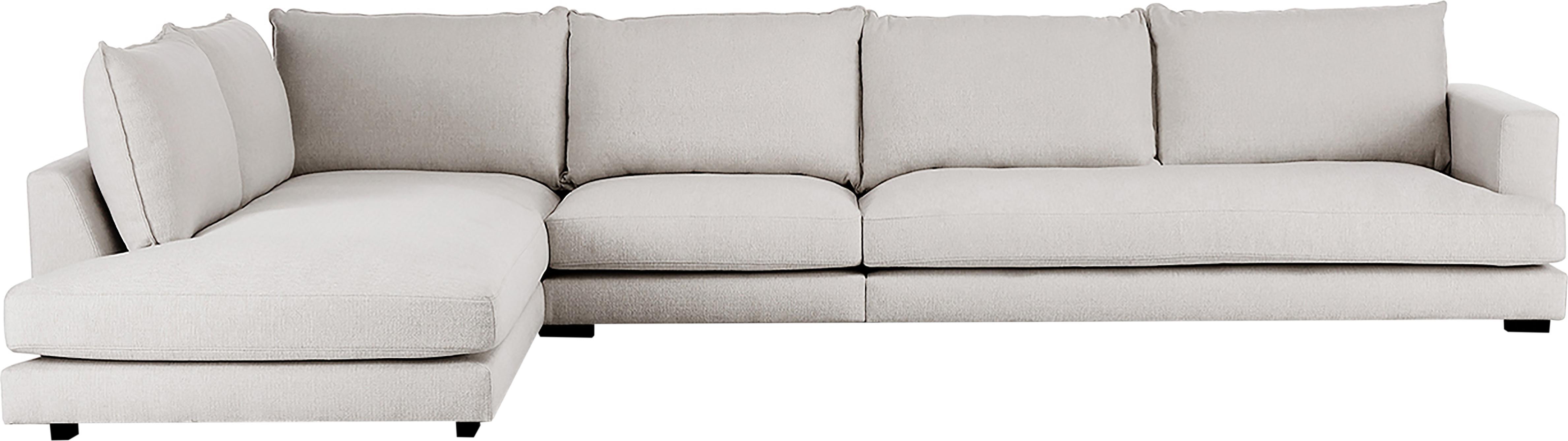 XL-Ecksofa Tribeca, Bezug: Polyester Der hochwertige, Gestell: Massives Kiefernholz, Webstoff Beigegrau, B 405 x T 228 cm