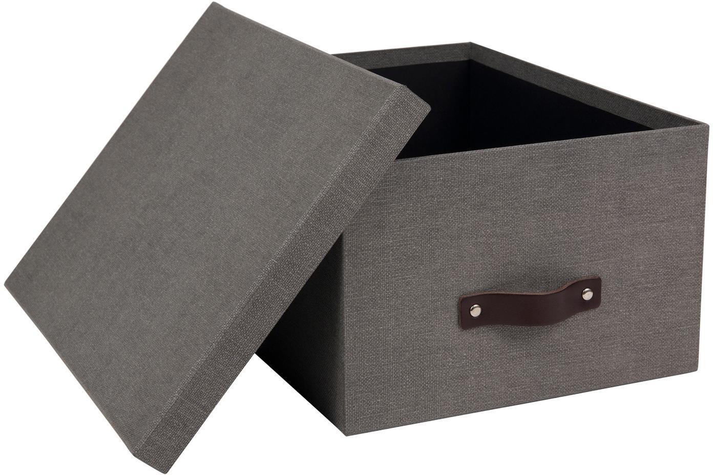 Scatola con coperchio Gustav II, Scatola: solido, cartone laminato, Manico: pelle, Grigio, Larg. 30 x Alt. 15 cm