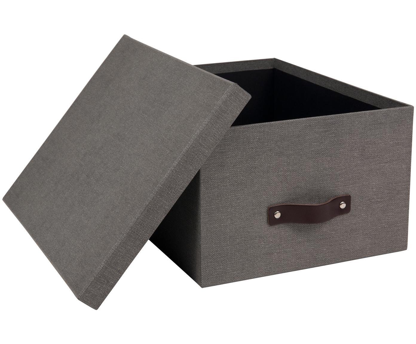 Aufbewahrungsbox Gustav II, Box: Fester, laminierter Karto, Griff: Leder, Grau, 30 x 15 cm