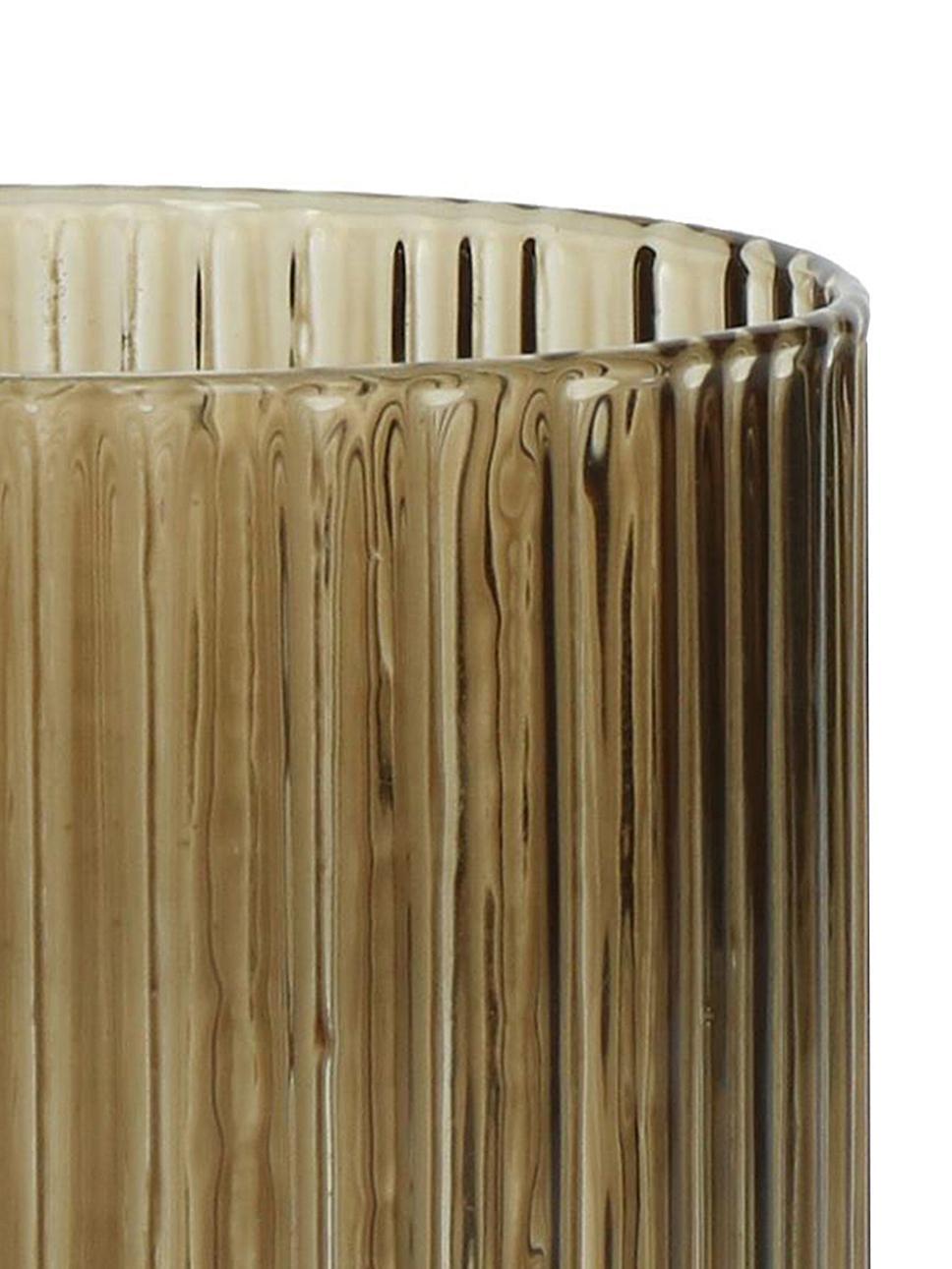 Wassergläser Canise mit Rillenstruktur in Braun, 6er-Set, Glas, Bernsteinfarben, Ø 8 x H 9 cm