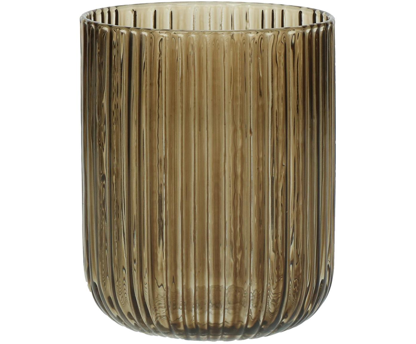 Vasos con relive Canise, 6uds., Vidrio, Ámbar, Ø 8 x Al 9 cm