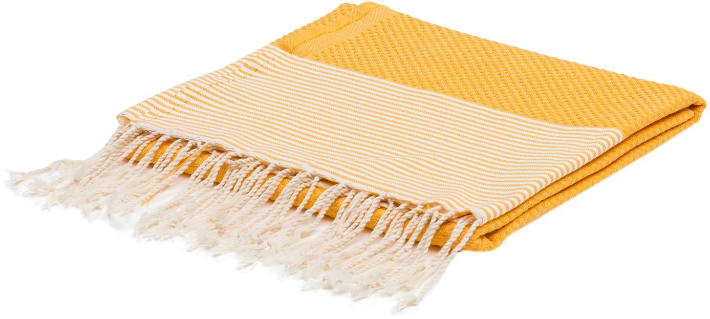 Hamamtuch Ibiza, 100% Baumwolle, sehr leichte Qualität, 200 g/m², Safrangelb, Weiß, 100 x 200 cm