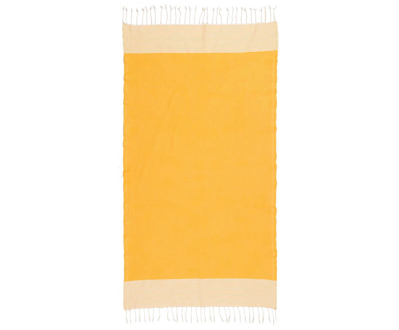 Ręcznik plażowy Ibiza, Bawełna, Bardzo niska gramatura, 200 g/m², Żółty szafranowy, biały, D 100 x S 200 cm