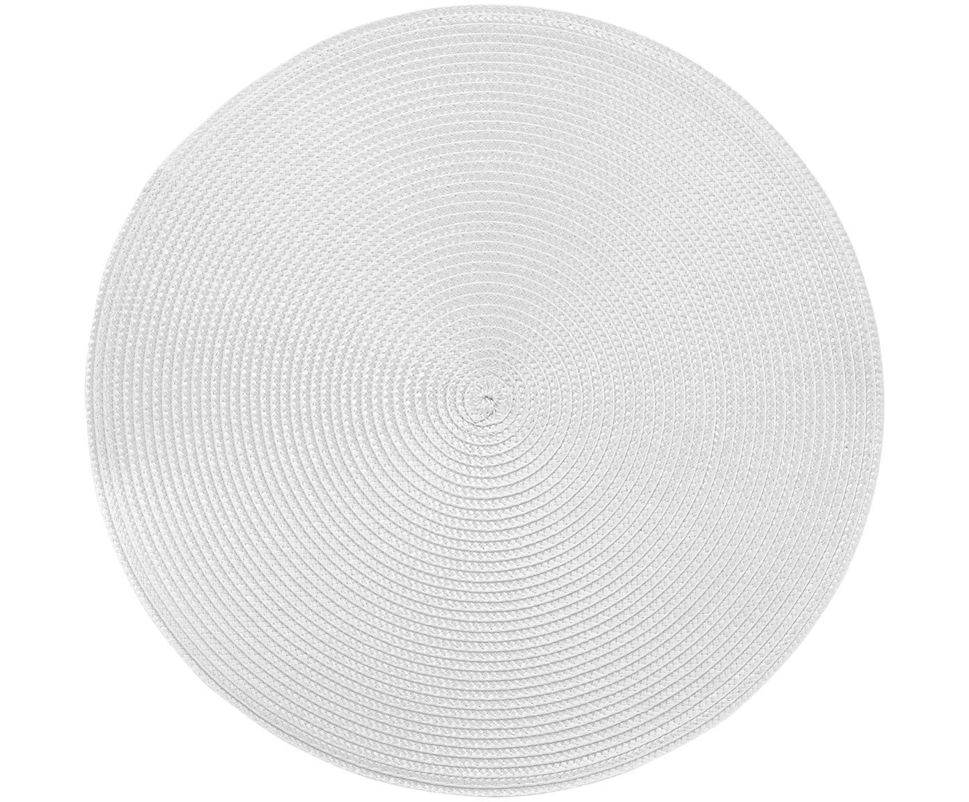 Ronde kunststoffen placemats Ambiente, 2 stuks, Kunststof, Lichtgrijs, Ø 38 cm