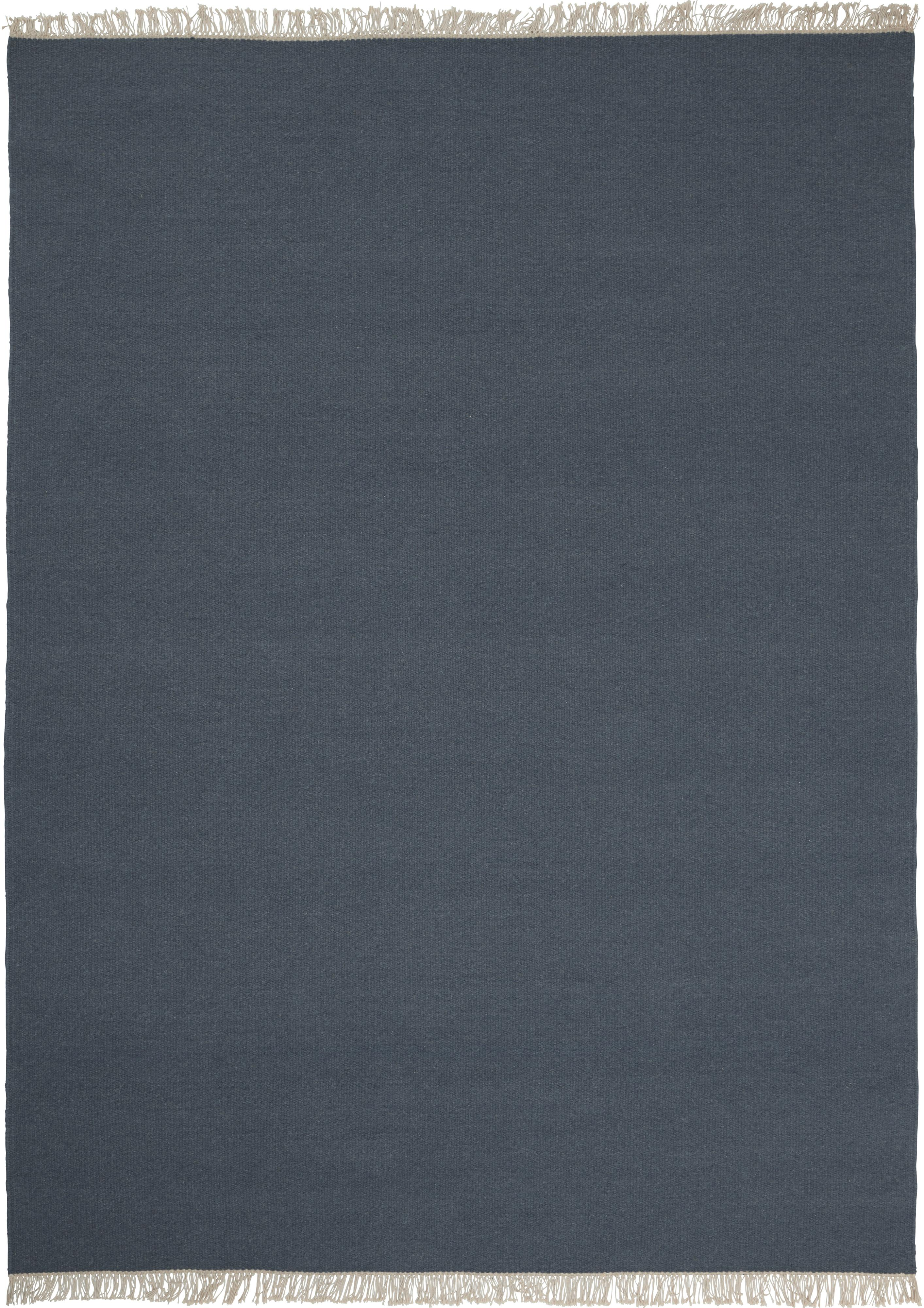 Handgewebter Wollteppich Rainbow in Blau mit Fransen, Fransen: 100% Baumwolle, Dunkelblau, B 140 x L 200 cm (Größe S)