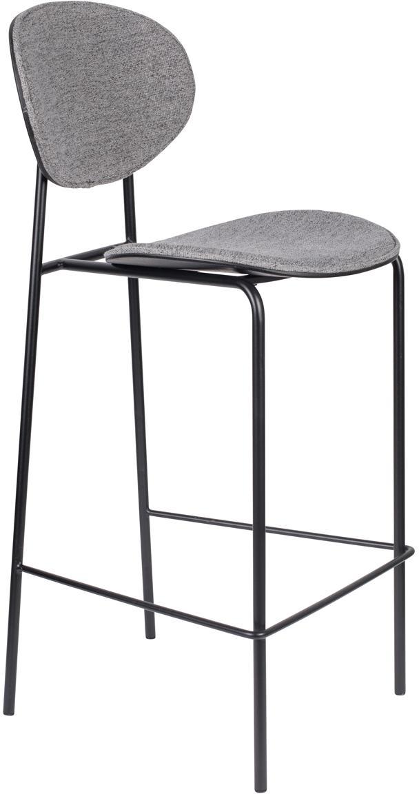 Barstühle Donny, 2 Stück, Bezug: Polyester, Gestell: Metall, pulverbeschichtet, Grau, Schwarz, B 39 x T 49 cm