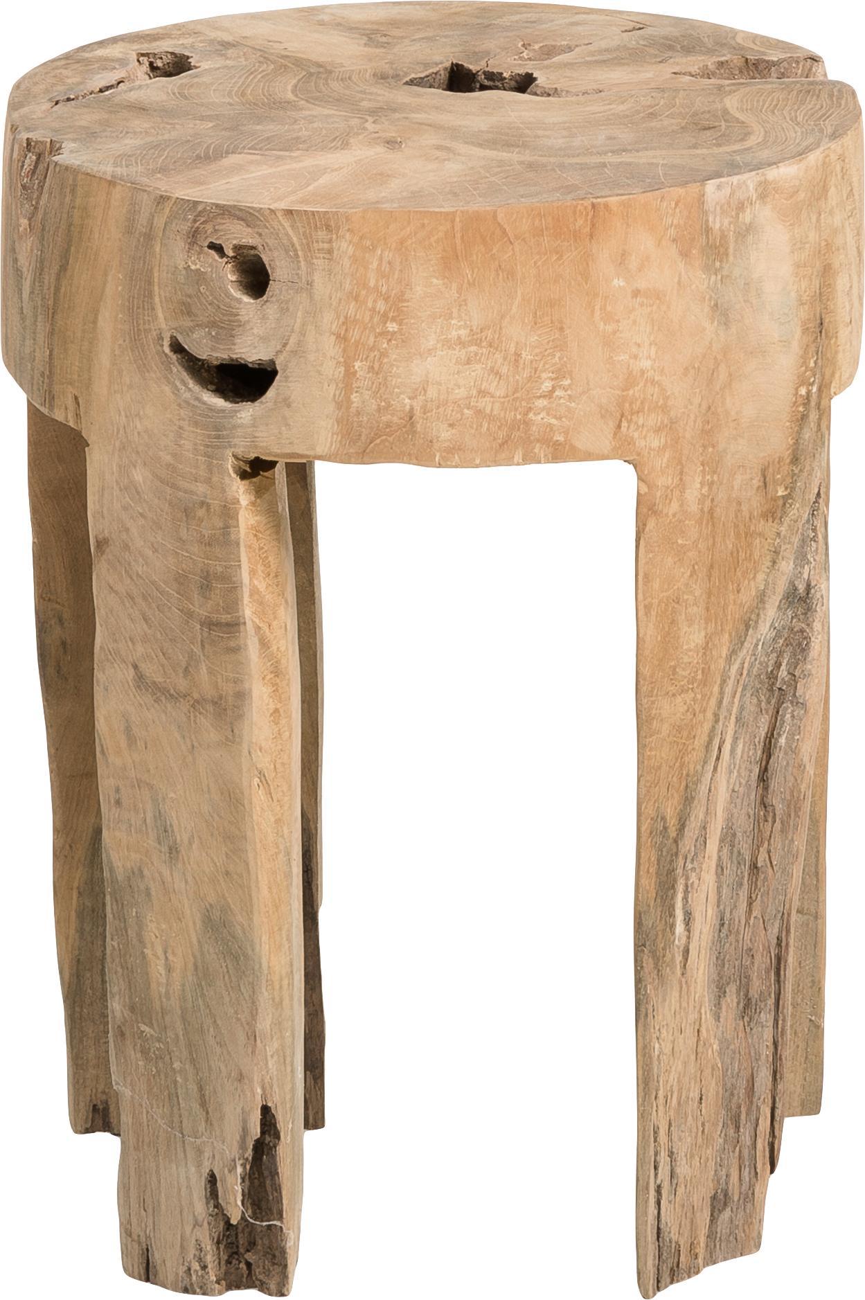 Kruk Java van teakhout, Massief teakhout, Teakkleurig, Ø 30 x H 40 cm