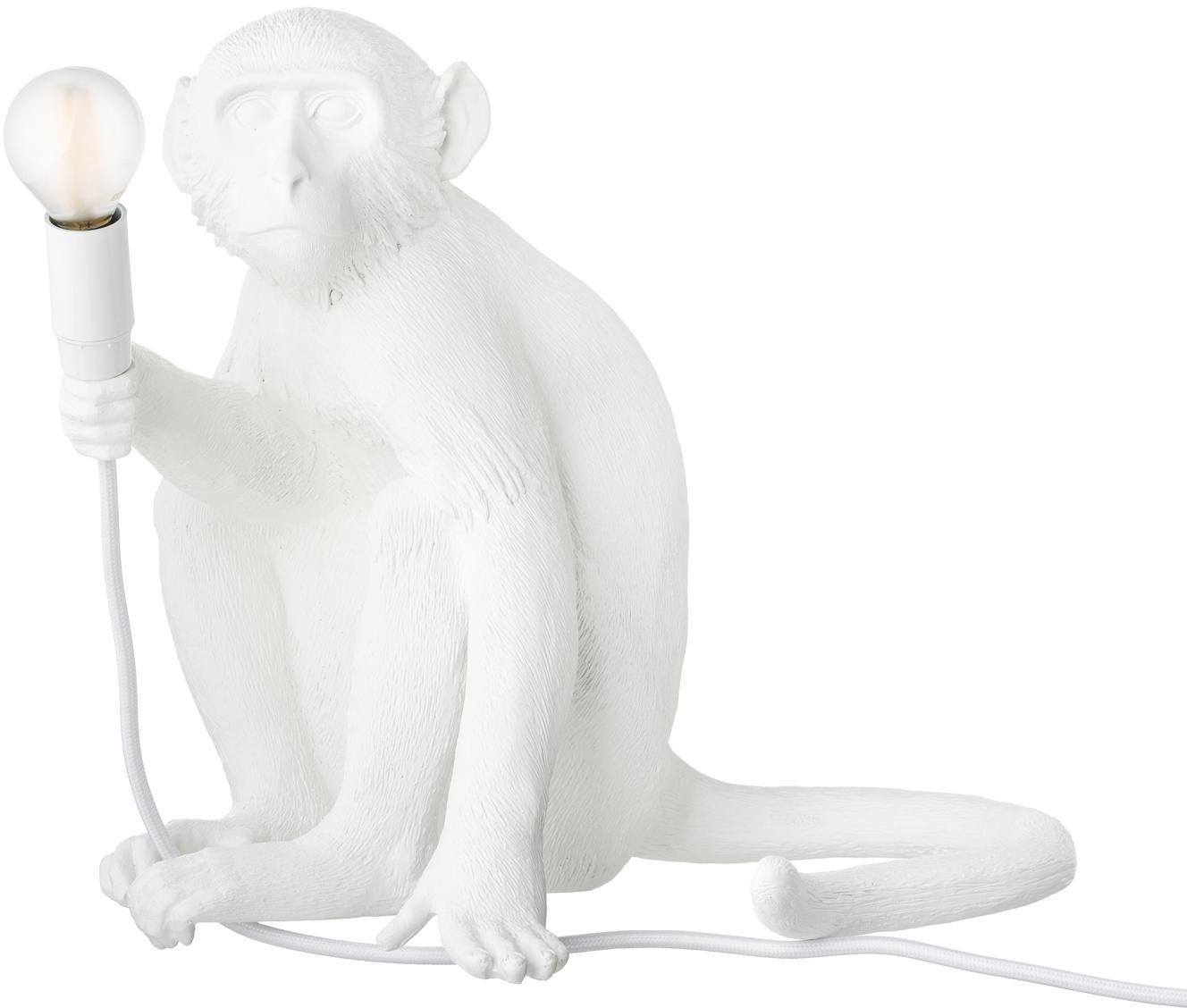 Außen-Tischleuchte Monkey, Kunstharz, Weiß, 34 x 32 cm