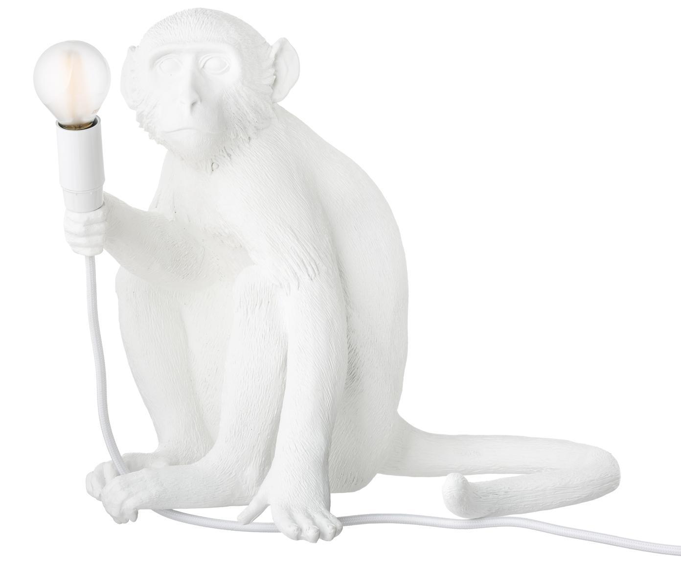 Zewnętrzna lampa stołowa LED Monkey, Żywica syntetyczna, Biały, S 34 x W 32 cm