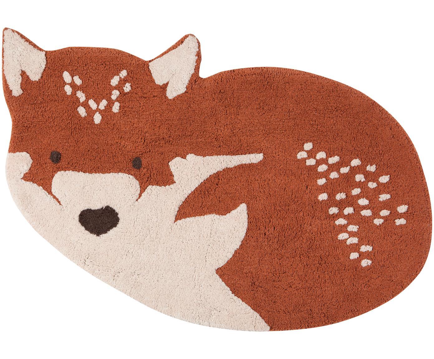 Teppich Little Wolf, Baumwolle, Rot, Beige, 110 x 70 cm