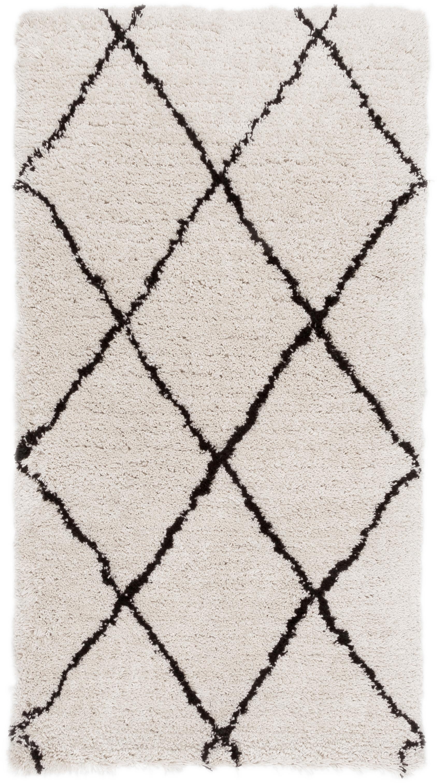 Handgetuft vloerkleed Naima, Bovenzijde: 100% polyester, Onderzijde: 100% katoen, Beige, zwart, 80 x 150 cm