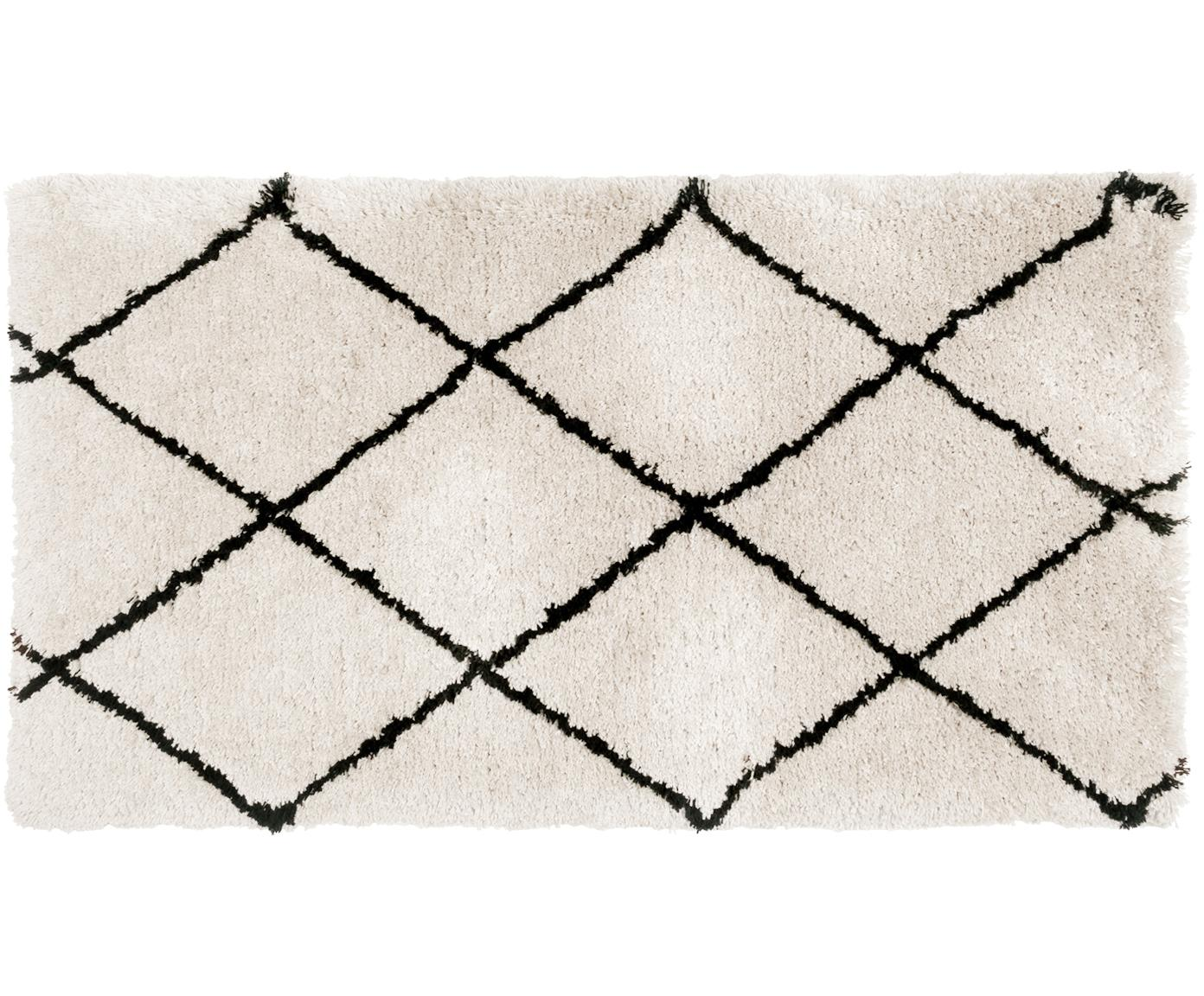 Alfombra artesanal de pelo largo Naima, Parte superior: 100%poliéster, Reverso: 100%algodón, Beige, negro, An 80 x L 150 cm (Tamaño XS)